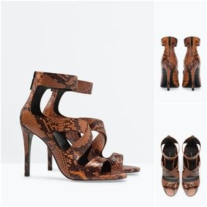 High Heel Leather Sandal:Brown, US 7.5/EUR 38